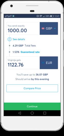 Transferwise - pasirinkite vedama pinigų sumą