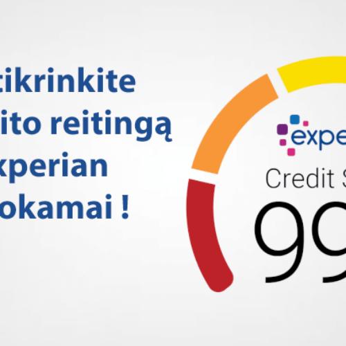 Pasiūlymas. Sužinokite savo kredito reitingą nemokamai