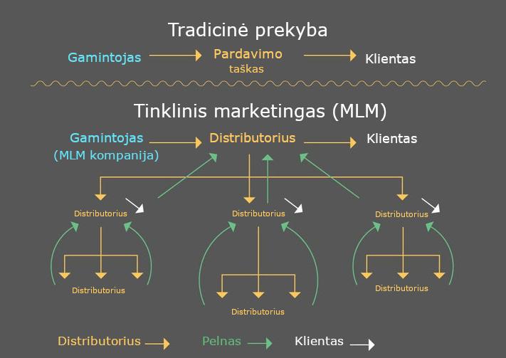 tinklinio marketingo schema ir tradicinė prekyba